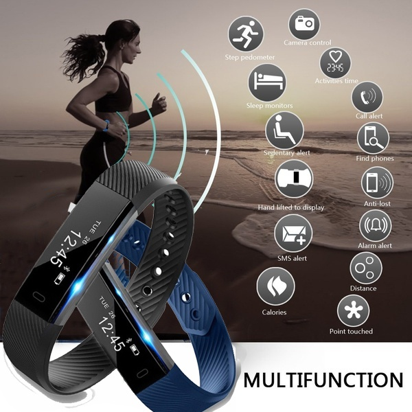 Sports ID115 Smart Bracelet Band Vibrating Sleep Tracker Monitor Fitness Tracker Smartband Android IOS Wristband PK mi band2