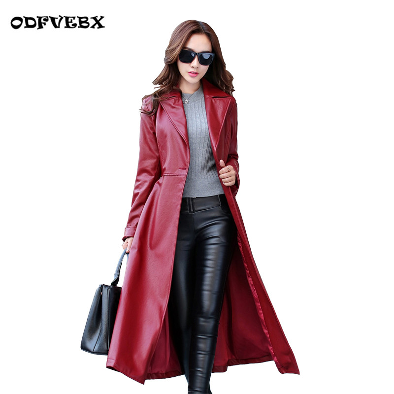 High quality   leather   Windbreaker women fashion thicken coat autumn winter Large size slim skin Long section coat tide ODFVEBX