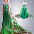 Febre verde Trajes elsa Meninas Vestido de festa Cosplay Princesa anna vestido infantil de festa de natal vestido do ano novo navidad