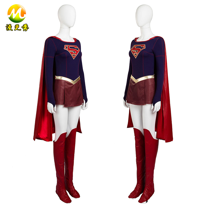 Supergirl Cosplay Costume Kara Danvers Supergirl Jumpsuit cloak Costume For Women Girls Leather skirt Halloween Party custom