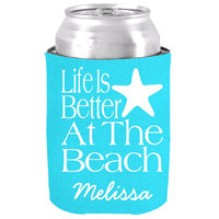 Customized Life Is Better At The Beach Neoprene Can Cooler Chic Beer Can Cooler Holder Wedding