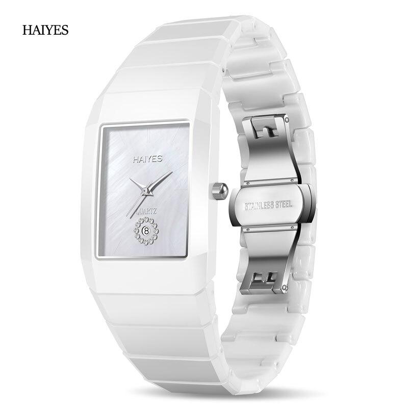 HAIYES prawdziwe ceramiczne mężczyźni zegarki marki luksusowe analogowe Auto zegarek Quartz z datą z oryginalne pudełko mężczyzn zegarek na rękę Relogio Masculino w Zegarki dla zakochanych od Zegarki na  Grupa 1