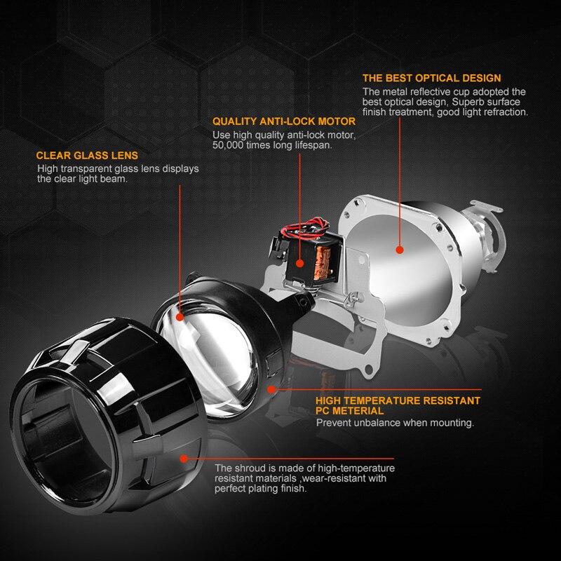 RACBOX 35 w 2.5 pouce LHD RHD bi-xénon HID Projecteur Objectif H4 H7 Auto Phare Ensemble 4300 k 6000 k 8000 k Pour Rénovation Phare De Voiture - 2