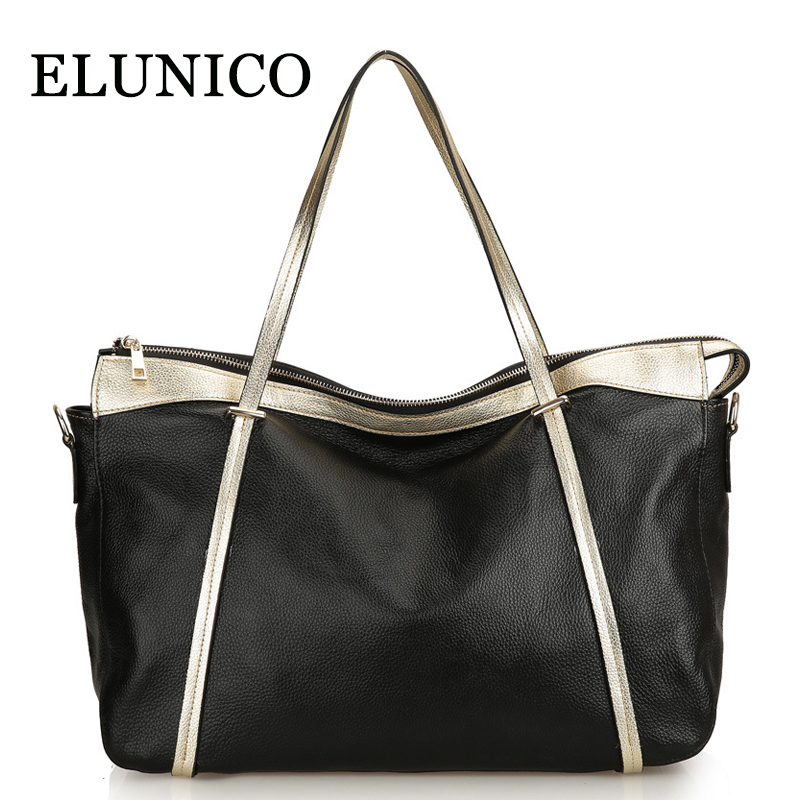 ELUNICO Summer 2018 Large Capacity Genuine Leather Women Handbag Fashion Cow Shoulder Messenger Bag Ladies Shopping Tote Bags 2017 luxury brand women handbag oil wax leather vintage casual tote large capacity shoulder bag big ladies messenger bag bolsa