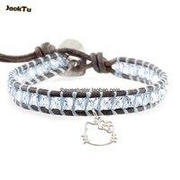 4mm clear crystal blue draad koffie lederen wrap armband