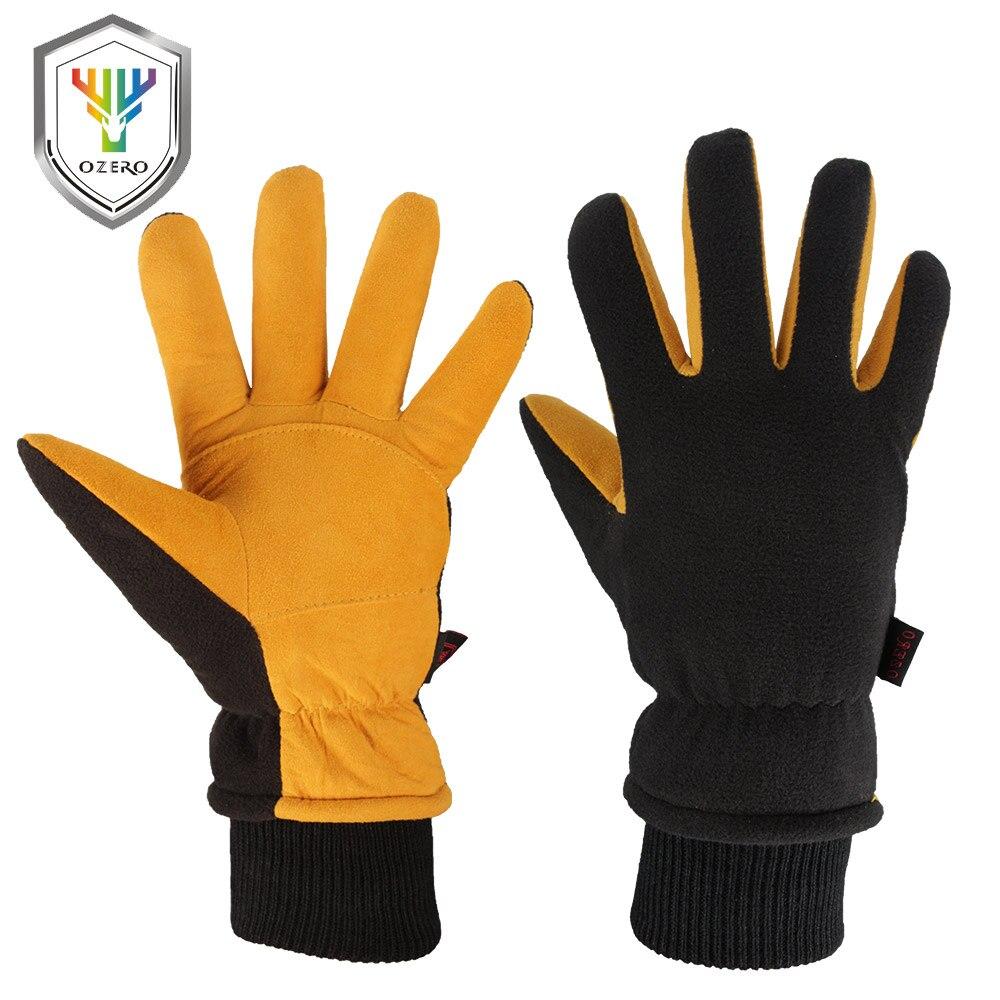 OZERO New Work Gloves Men Winter Warm Ski Welding Working Gloves Deerskin Leather Wear-resisting Waterproof TPU Gloves 9019