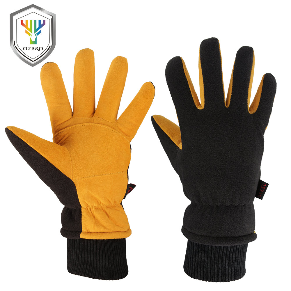 OZERO New Work Gloves Men Winter Warm Ski Welding Working Gloves Deerskin Leather Wear-resisting Waterproof TPU Gloves 8008