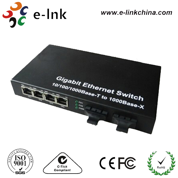 10/100/1000Base-T to 1000Base-F media switch with 2 Fx Port + 4 RJ-45 Ports, Multi-mode10/100/1000Base-T to 1000Base-F media switch with 2 Fx Port + 4 RJ-45 Ports, Multi-mode