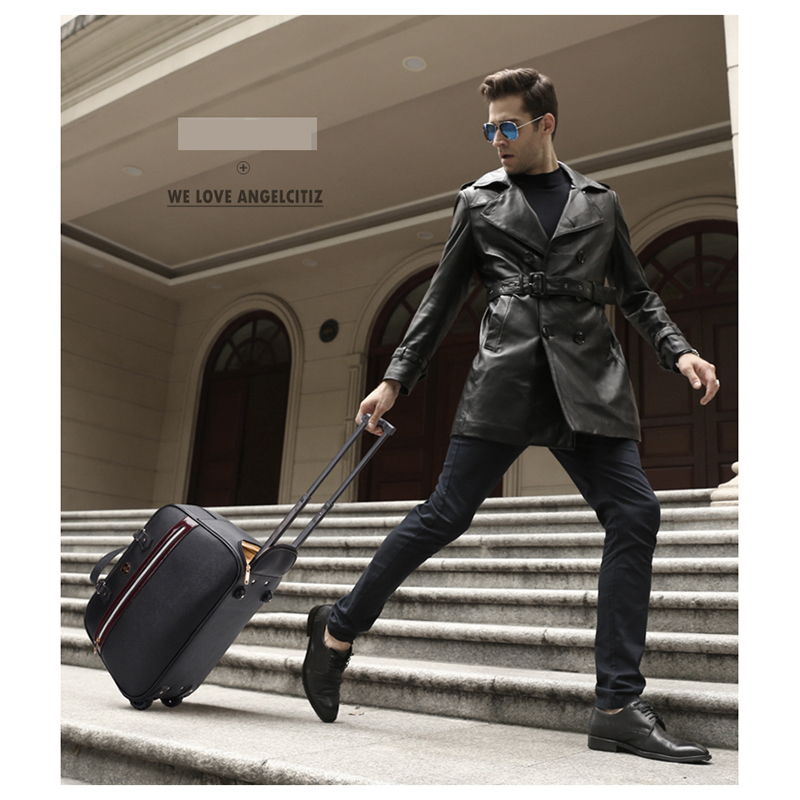 Letrend New Fashion Men BusinessHigh-capacity Travel Bag Hand Women Leather Bag Luggage Trolley Bag Boarding Trunk Short Journey