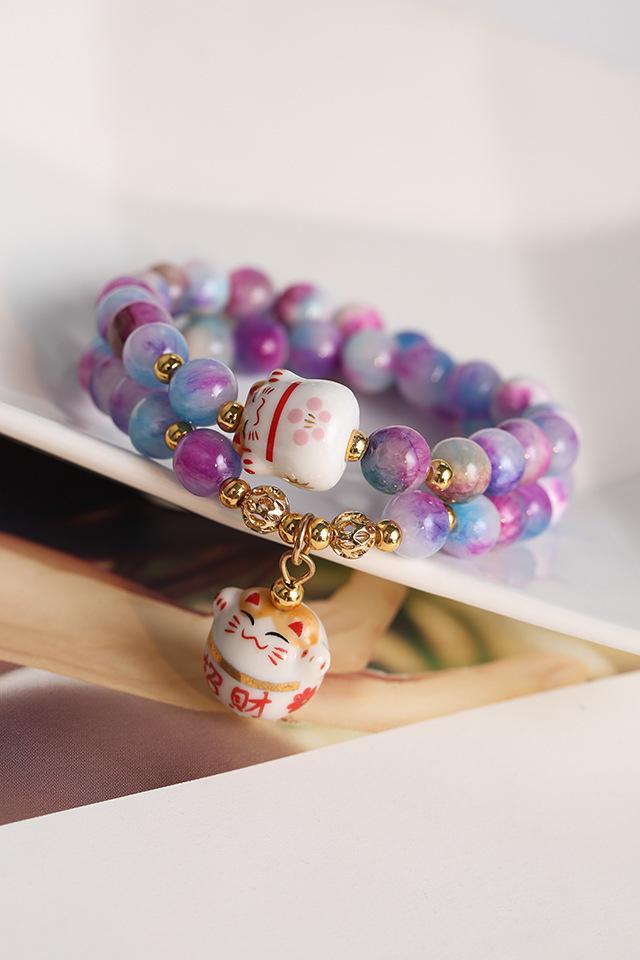 db54aba9ef17 Original Corea moda cristal natural colorido pulsera de piedra ...