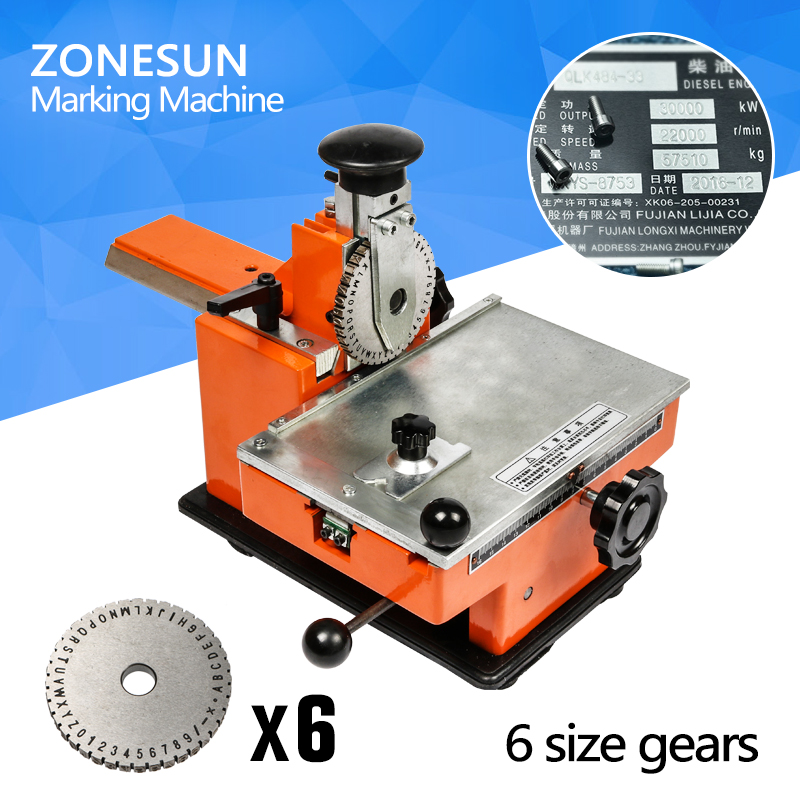 ZONESUN embossing machine with 6 gear Metal sheet embosser manual steel aluminum alloy name plate stamping label engrave tool customized sheet metal fabrication stainless metal stamping