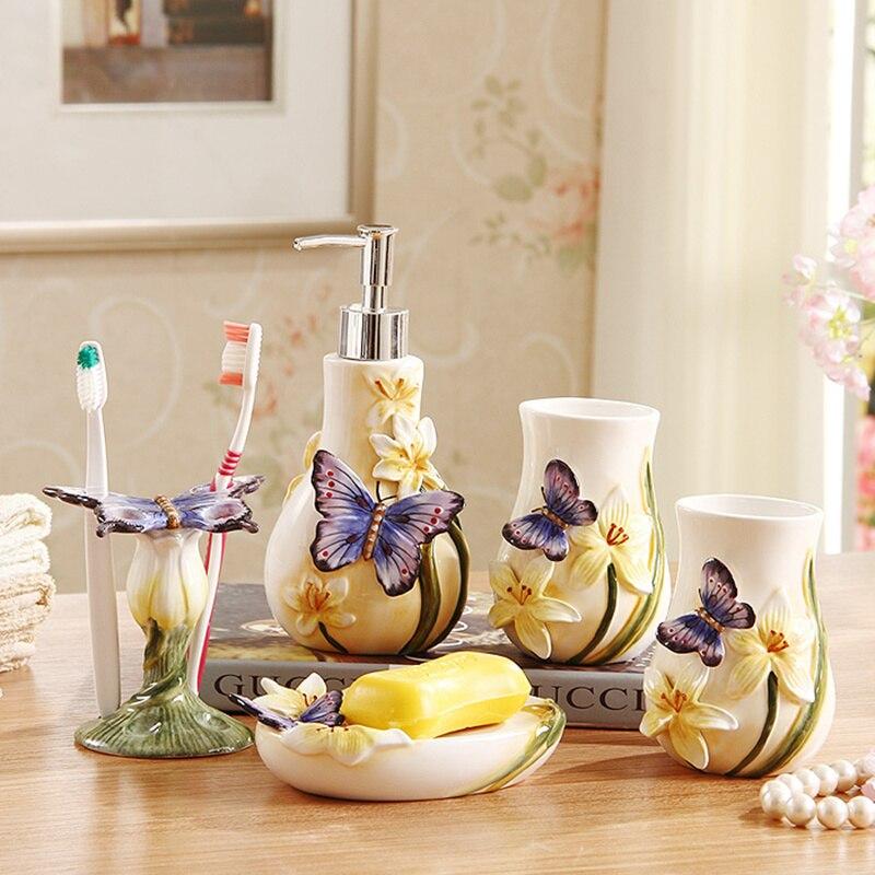 Dental do dekoracji domu prezent ślubny 5 sztuk akcesoria łazienkowe ceramiczny zestaw łazienkowy mydelniczka uchwyt na szczoteczkę do zębów piękne mody w Zestawy akcesoriów łazienkowych od Dom i ogród na  Grupa 1