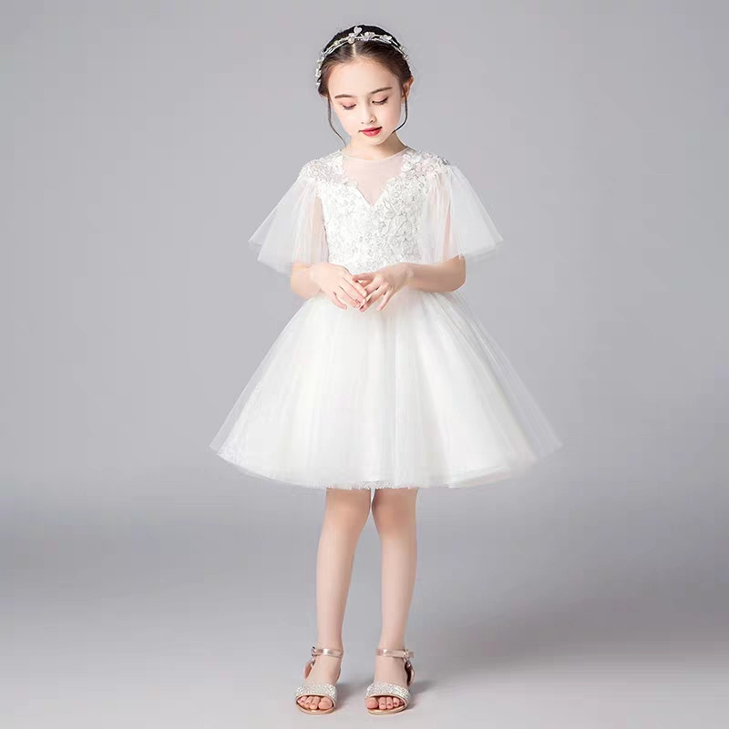 New Arrival Good Quality Children Girls White Color Birthday Party Princess Dress Little Kids Teens Dress for Communication Wear