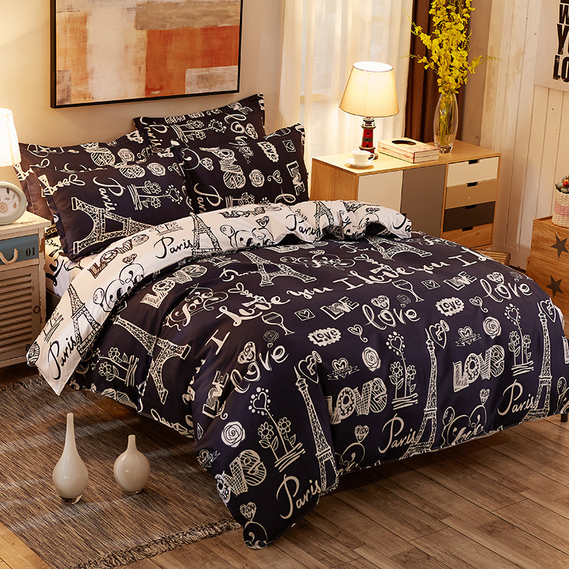 Paris Tower Building Quilt Cover Flat Bed Sheets Pillow Cover Adult Bed Linen Bedding Duvet Cover Set Twin Full Queen King Size