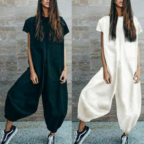 Womens Casual Clubwear Summer Playsuit Loose Party Bubble Overalls Jumpsuit Harem Loose Wide Leg Romper Long Trousers Hot