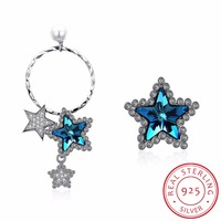 Women Asymmetrical Sterling Silver 925 Stud Earrings Crystals From Swarovski Stars Earrings S925 Hoop Dangle Stud Lady Earrings