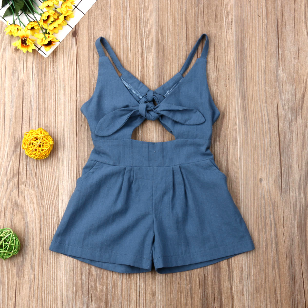 Emmababy Newest Fashion Toddler Baby Girl Clothes Cotton Sleeveless Solid Color Strap Romper One-Piece Outfit Clothes