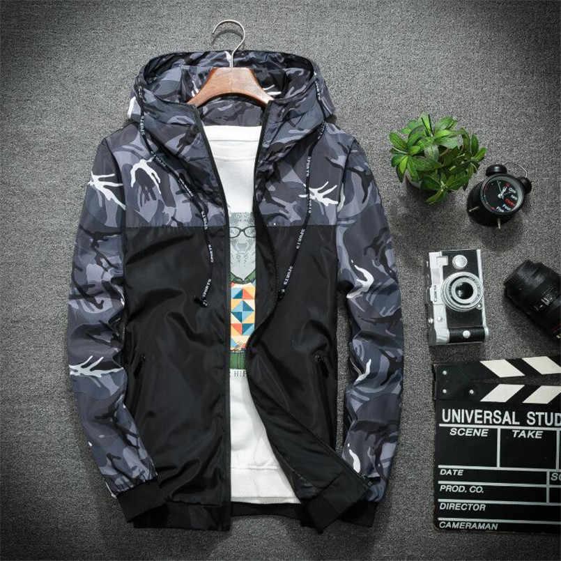 新迷彩ジャケット男性プラスサイズ迷彩フード付きウインドブレーカージャケットミリタリーキャンバスジャケットパーカーファッションストリート