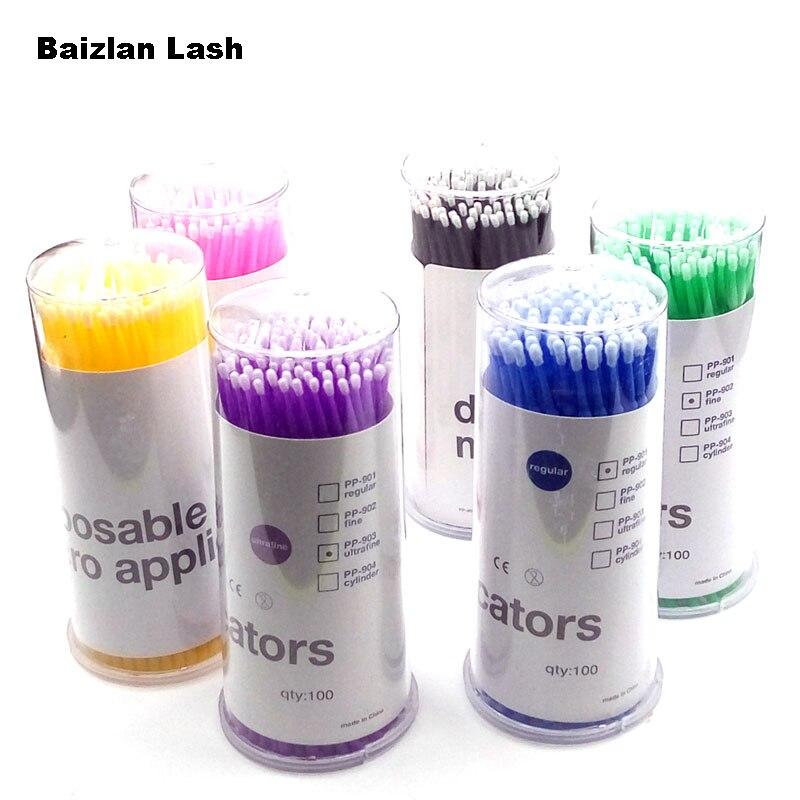 100PCS/Lot Disposable Micro Brushes Applicators Mascara Brush Eyelash Extension Tools Individual Lash Micro Brush Cosmetic