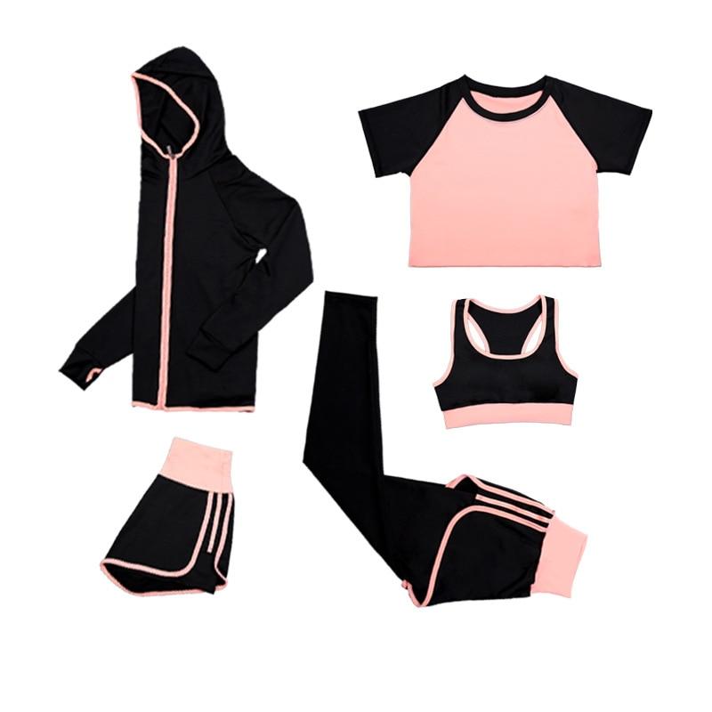 ✔  5 шт. Женская йога костюм спортивная одежда фитнес-бег большой размер быстросохнущие рубашки + куртк ✔