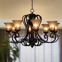 Retro Vintage Chandeliers 8 Lights Black Painting Resin Metal Glass Chandelier Light for Living Bed Dinning Room Loft Light