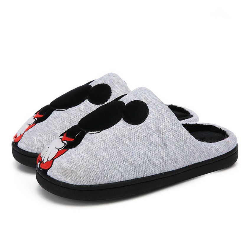 Детские тапочки; хлопковая обувь с изображением мышки; домашняя одежда для маленьких девочек; мягкие Нескользящие резиновые утепленные тапочки для маленьких родителей