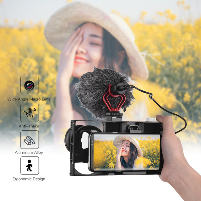 Andoer Smartphone Video Rig+Wide Angle Macro Lens+Phone Filming Cage Stabilizer for iPhone Samsung Huawei Stabilizer Video Rig 3