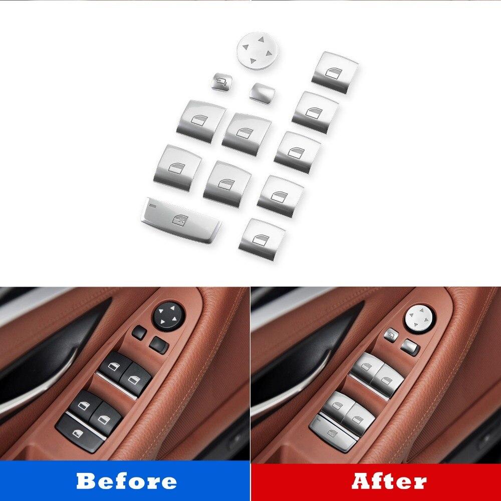 Areyourshop Voiture 11 pièces lève-vitre bouton de commutation Couverture Pour BMW Série 5 F10 F18 2011-2017 2012 2013 2014 accessoires de voiture