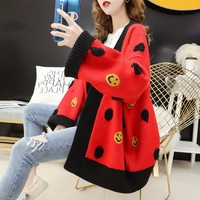 Women Autumn Winter Smile Printed Cardigan Thick Sweater Female Long Sleeve Loose Oversize Knitted Coat Manteau Femme Hiver