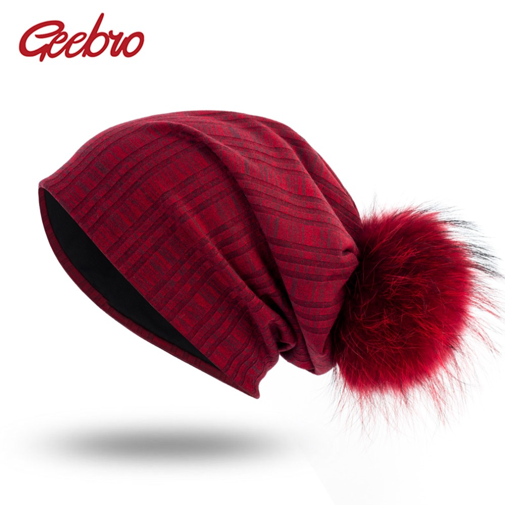 Geebro Women's Plain Color Plaid   Beanie   Hat with Raccoon Pompom Spring Casual Knit Cotton Hats For Women   Skullies     Beanie   Hat