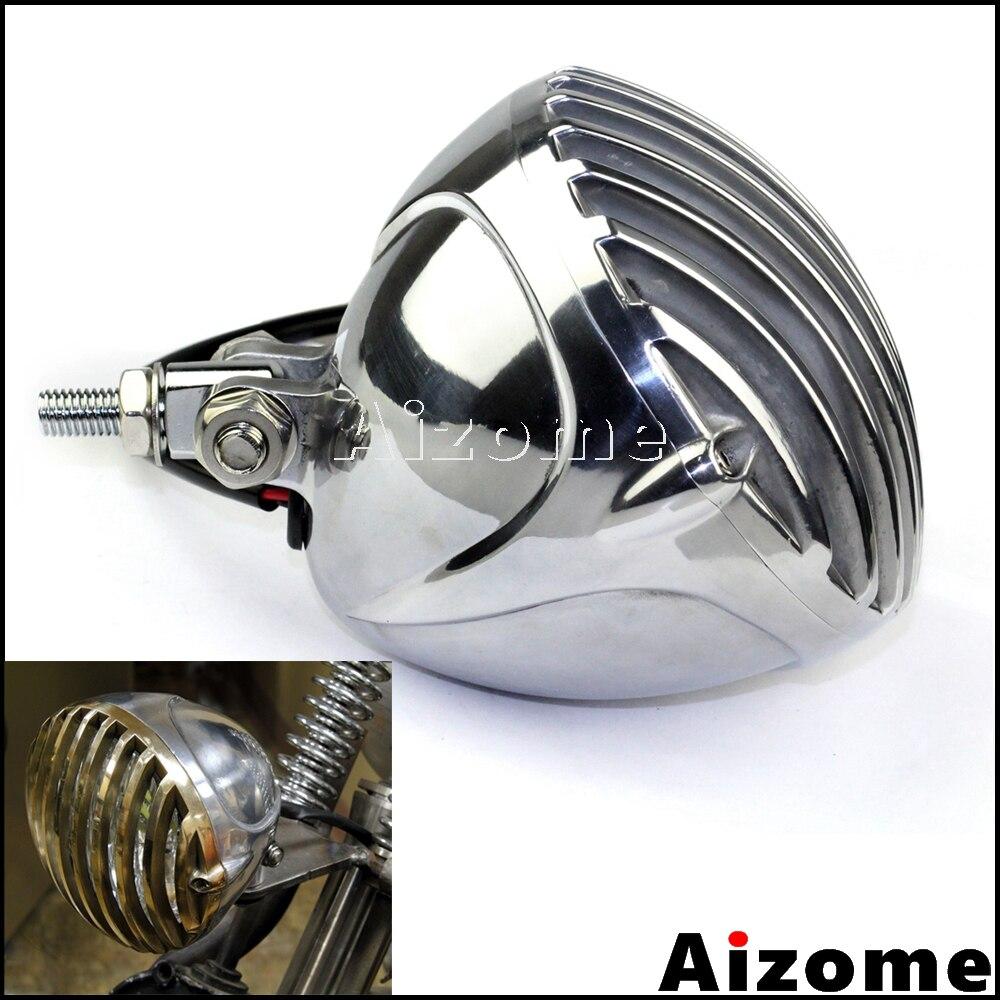 Chrome Scalloped Headlight Motorcycle Retro Finned Grill Headlamp 5