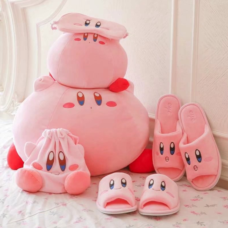 Kirby Super Star Plush Toy, Pillow, Eye Patch, Slipper, Key Chain, and Bag