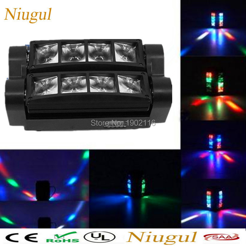 Niugul Free&Fast shipping RGBW DMX512 LED Spider light Rotatable LED beam Stage effect Light for Disco KTV Club Party Home party niugul 30w dmx mini gobo projector spot led moving head high quality 30w party disco ktv stage light factory sale fast shipping