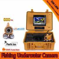 50 Metros de Profundidade Underwater Camera Kit Pesca com Dupla Barra de Chumbo & Monitor de 7 Polegadas com DVR Embutido & Yellow Plásticos Duros caso
