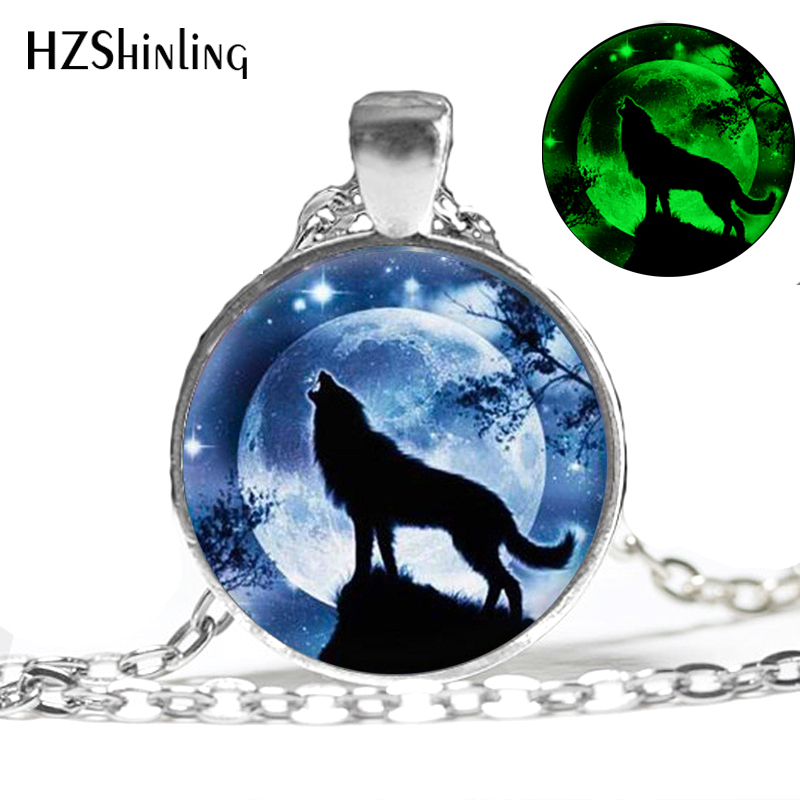 HZShinling Glowing Anhänger Halskette für Frauen Männer Howling Wolf Glas Halskette Modeschmuck Glow In The Dark Customized 003