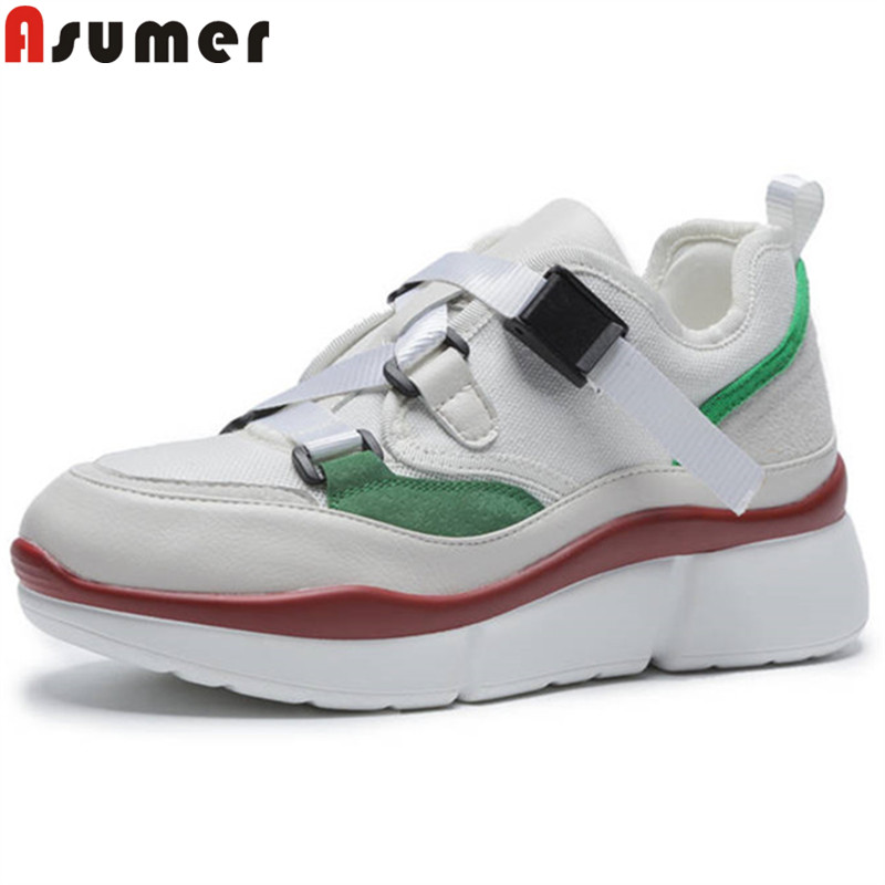 ASUMER 2018 fashion new shoes woman round toe buckle flats women   suede     leather  +screen cloth casual comfortable sneakers big size