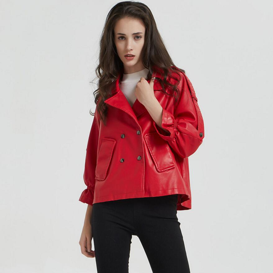 Куртка женская из искусственной кожи красная с отворотом мотоциклетная