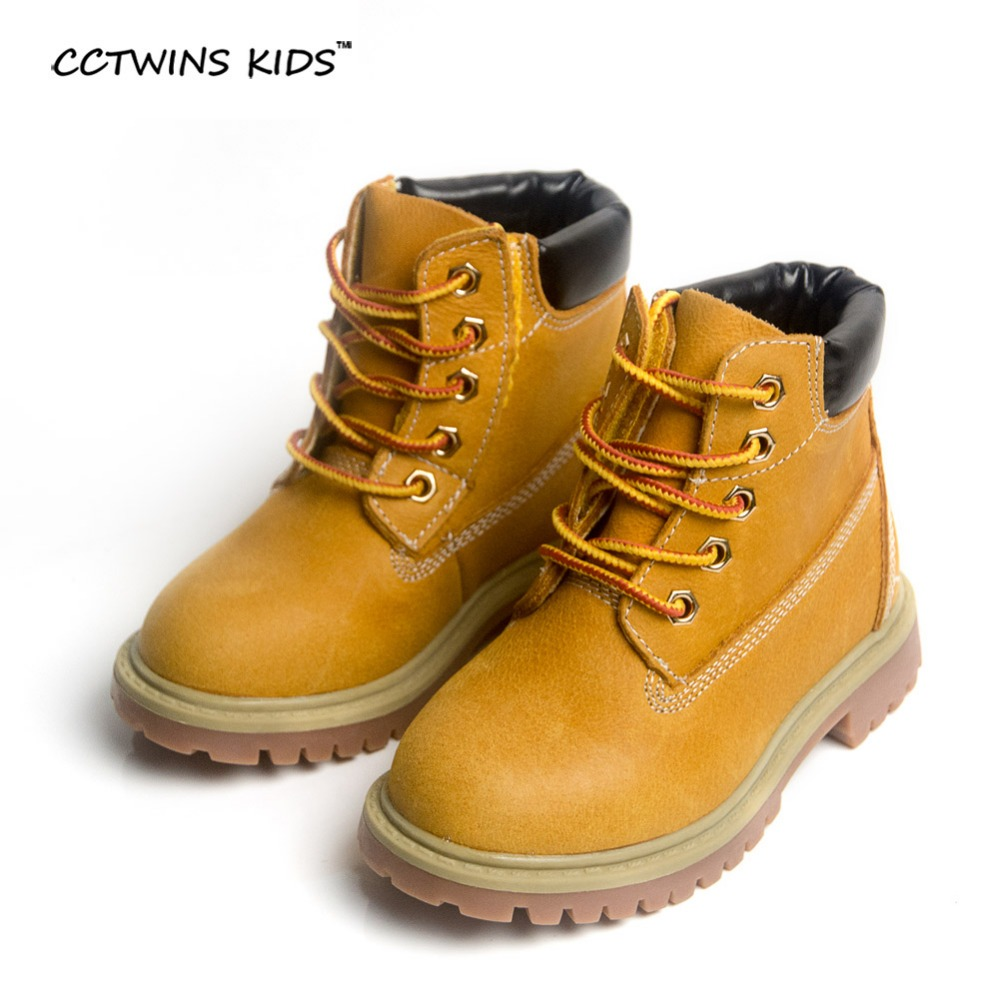 CCTWINS KIDS spring autumn winter children boots kids warm shoes fur girls Rome brown boots baby