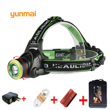 Yunmai 10000lm Head Light Zoom USB Headlamp NEW XM-T6 COB Headlight Light LED Head Lamp Flashlight Torch use 2*18650 Battery yunmai 10000 lumen led headlamp new xml t6 cob usb headlight head lamp light fishing outdoor camping riding head frontal torch