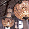 Bowl Retro Vintage Rustic Lodge European Style Crystal Pendant Lamp Large Crystal Chandelier For Hall Parlor