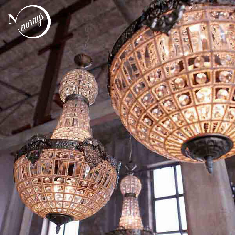 Retro Vintage Charming Royal Empire Style Big Led Crystal Modern Chandelier Lamp Lustres Lights E14 For Hotel Church Living Room retro vintage black rust wrought iron cage chandeliers e14 big french empire style crystal chandelier led lamp hardware lighting