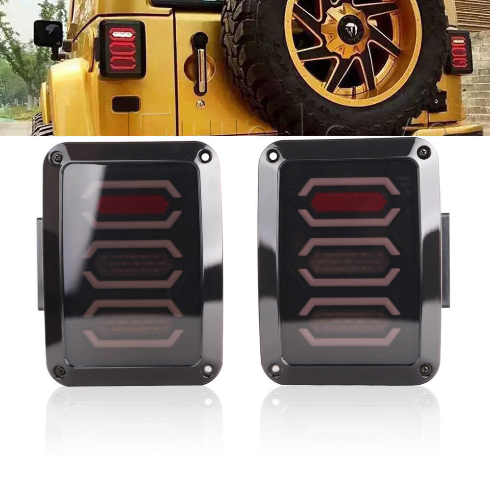 2PCS DC 10-30V US version LED Diamond Tail Light Black With Smoke Lens For 2007-2016 Jeep Wrangler JK Tail Light / Break Light for jeep wrangler jk 2007 2016 tail light diamond smoke led tail light