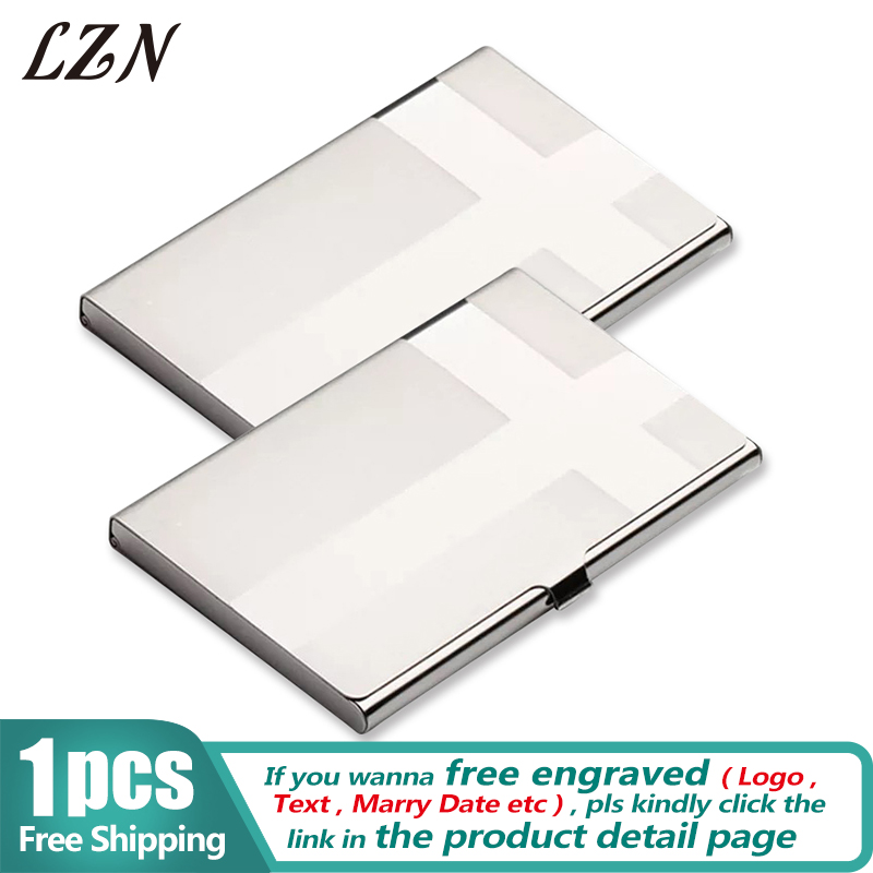 LZN New Fashion Card Holder Stainless Steel Silver Aluminium Credit Card Case Business Men ID Card Box Free Shipping