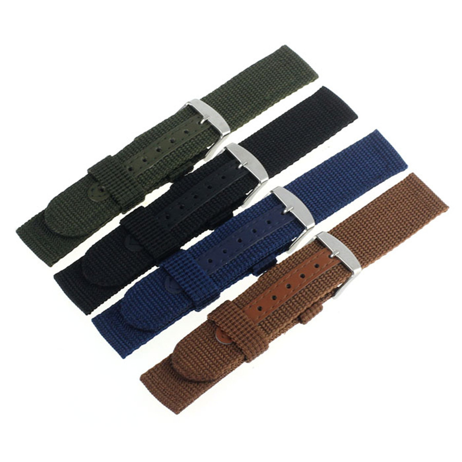Watch Men Strap Military Nylon Fabric Canvas Wrist Watch Band Strap 18/20/22/24mm 4Color With Stainless Steel Buckle