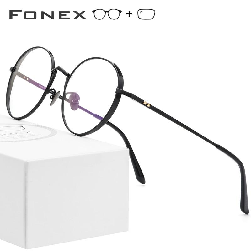 Pure Titanium Prescription Glasses Frame Men Ultralight Retro Round Myopia Optical Eyeglasses Frames Women Vintage Oval