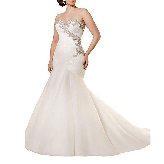 Vintage Sweetheart Mermaid Wedding Dress Chiffon Pleated Ruched Bridal Gown Vestidos De Novia 2019