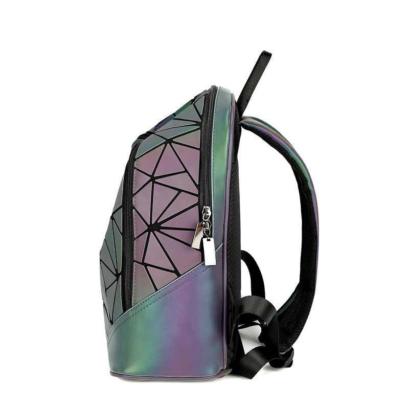Модный женский рюкзак Mochila геометрические светящиеся рюкзаки рюкзак для девочек Серебристые дорожные сумки на плечо для школьный рюкзак