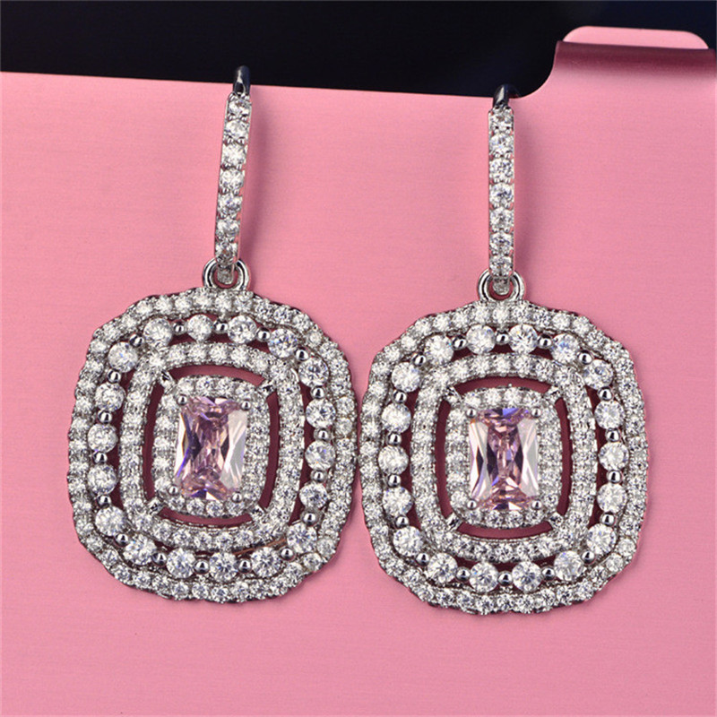 HTB1uatbcFuWBuNjSszbq6AS7FXa2 Eardrop Earrings For Women S925 Sterling Silver Topaz Temperament Elegant White & Pink Diamant Wedding Brincos Fine Jewelry