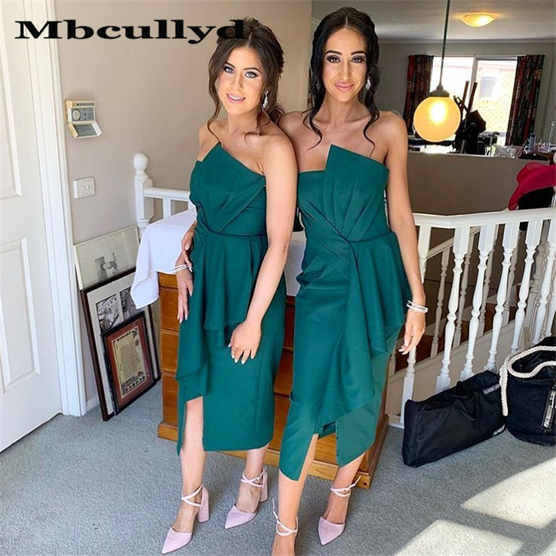 Mbcullyd Bohemia Beach Bridesmaid Dresses For Women 2020 Wholesale Price Dark Green Satin Formal Dress Party Wedding Guest Dress