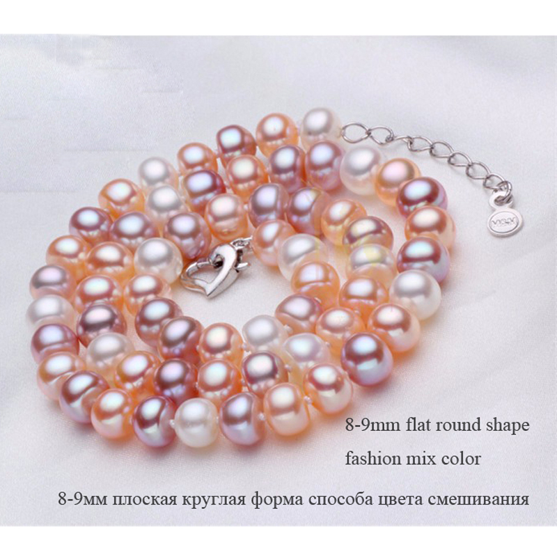 Set pure real freshwater pearl necklace and bracelet 3